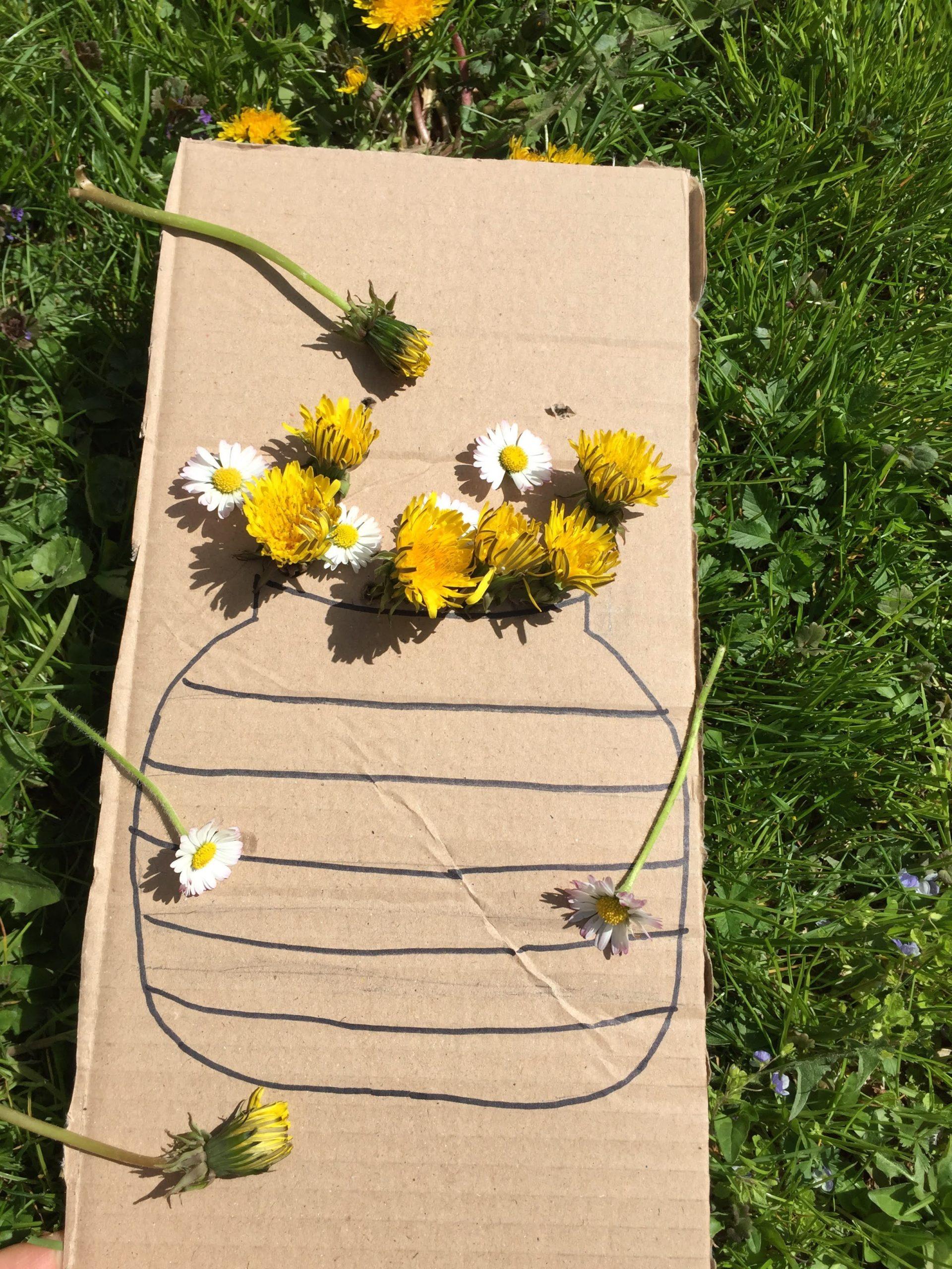 Bastelvorlage Blumenvase im Frühling