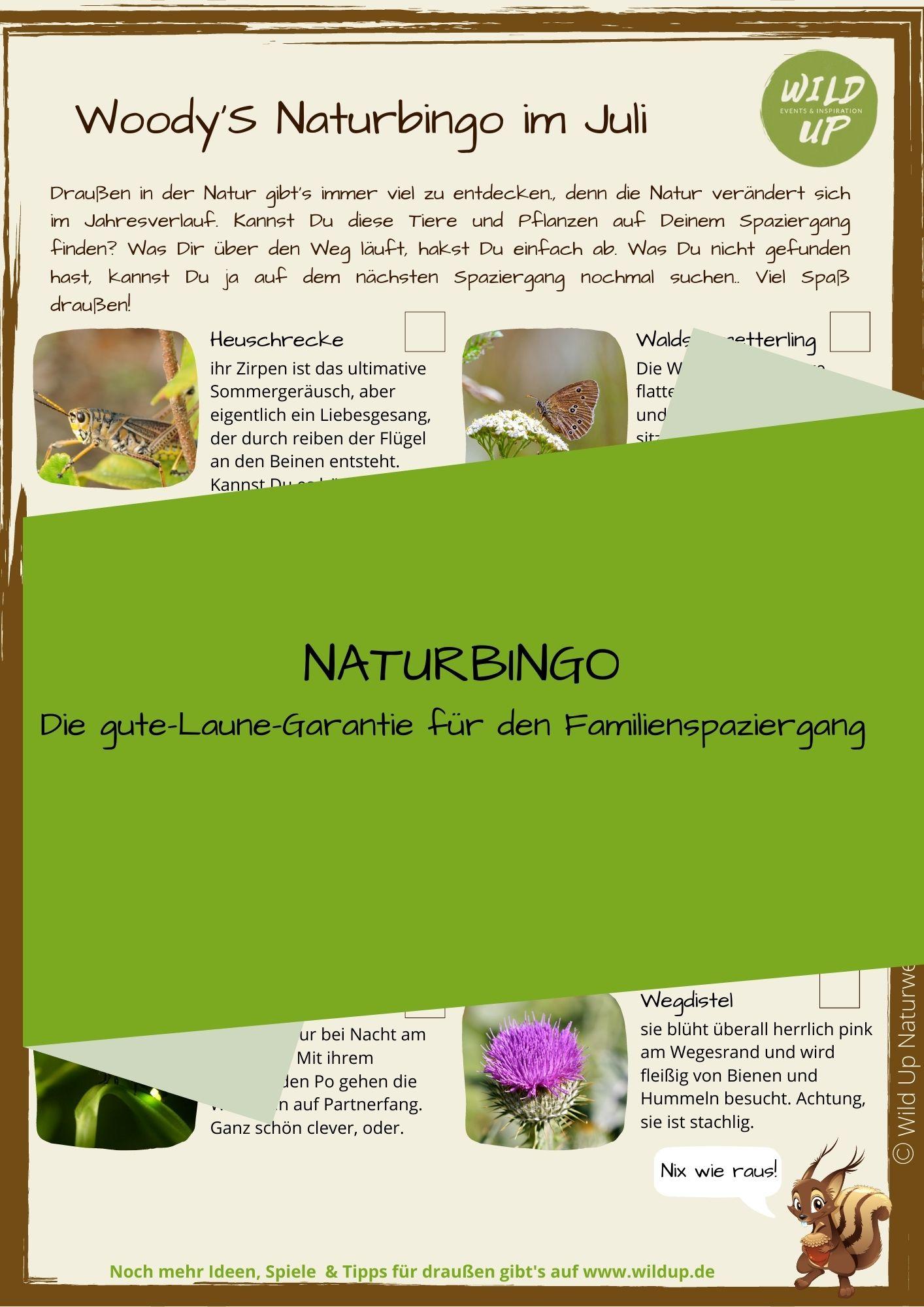 Naturbingo für den Monat Juli