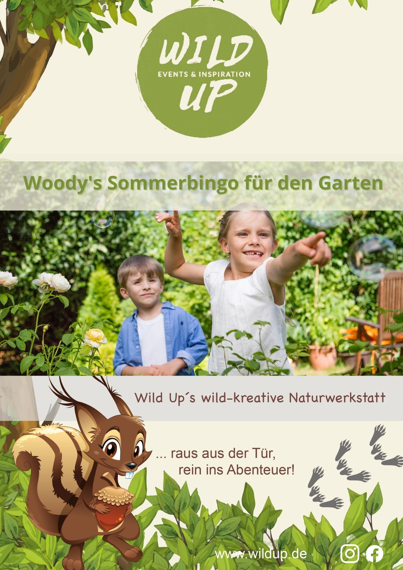 Outdoor Bingo spielen im Garten für Kinder