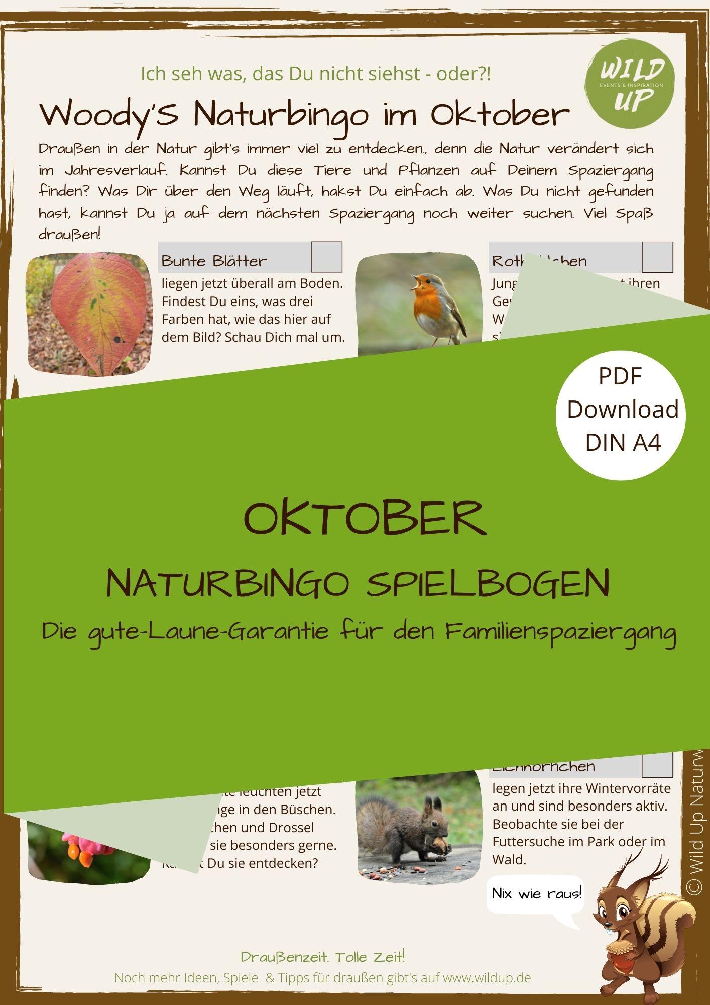 Natur entdecken mit dem Oktober Naturbingo